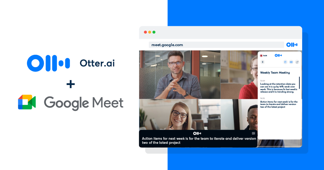 Otter.ai extension opened in google meet